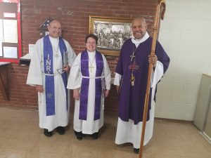 Pr. Bill Leitch, Pr. Ann Marie Winters, and Bishop Abraham Allende 2-25-2018 at Living Lord Lutheran Church